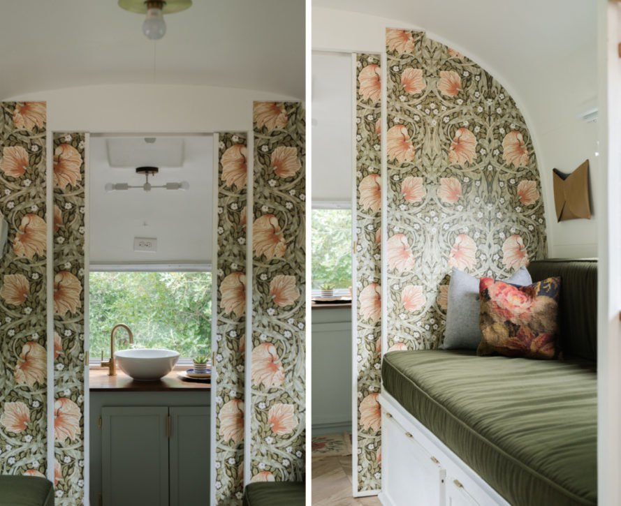 interior living space with flowered wallpaper