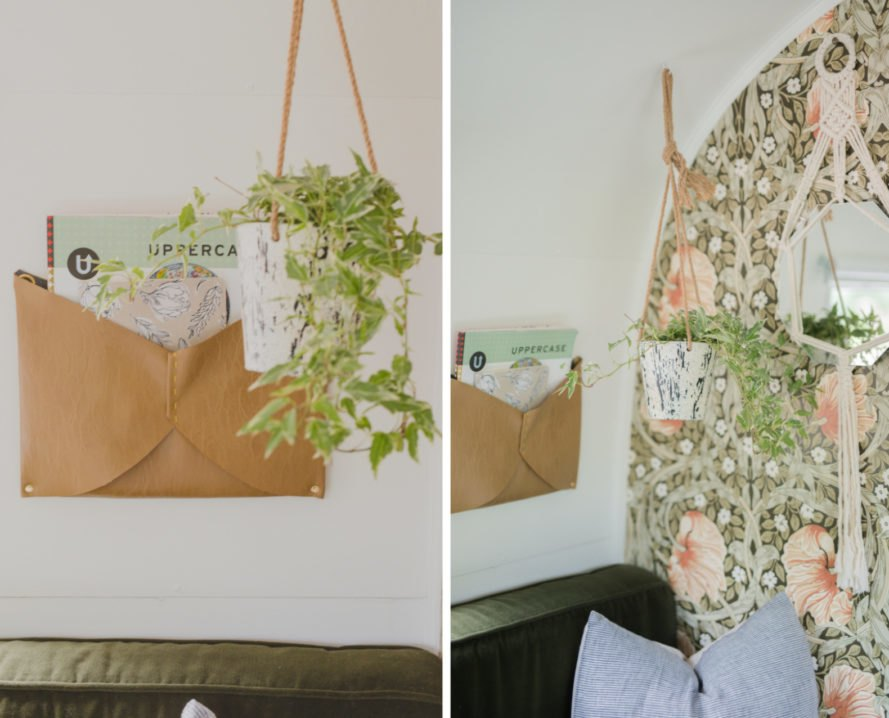 wall with envelope hanging and plant