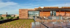 patio area topped with green roof and beside solar panels