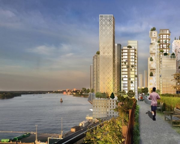 Rendering of tall wooden skyscrapers near water