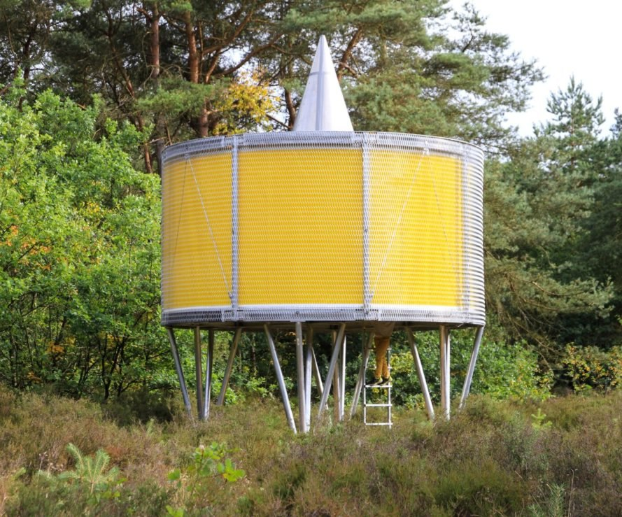 round yellow pavilion on metal supports