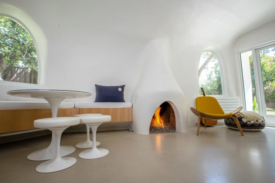 a living space with fireplace