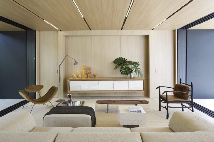 wood paneled living space