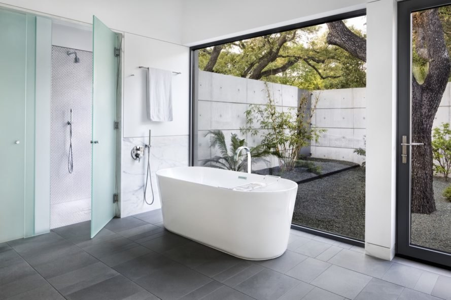 bathroom with full height glazing