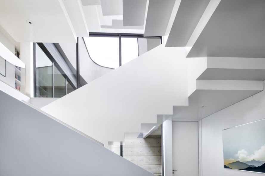 sculptural central stair