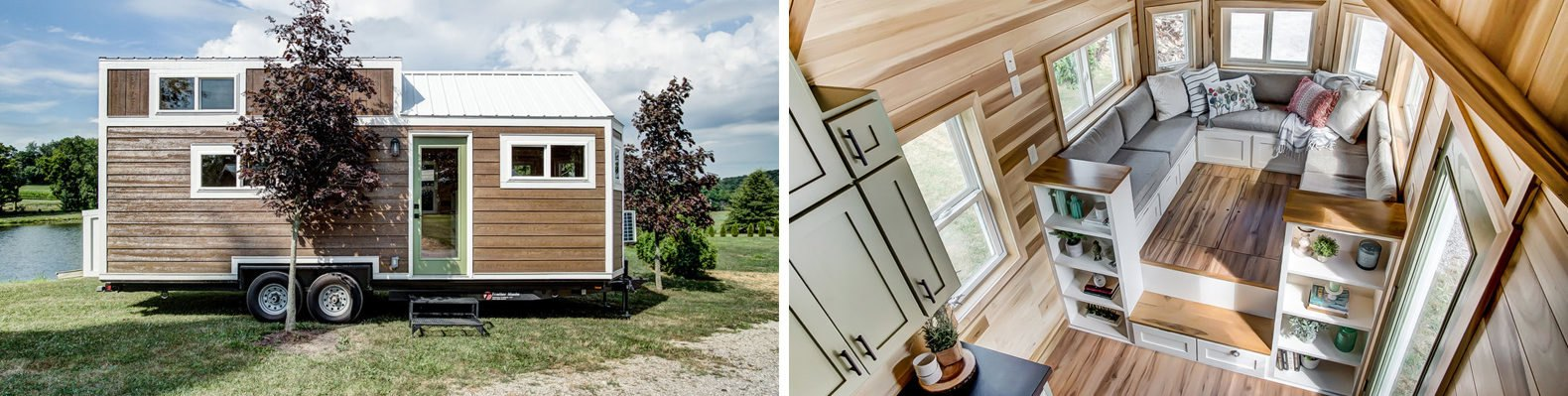 On the left, wood-sided tiny home. On the right, aerial view of the living space.