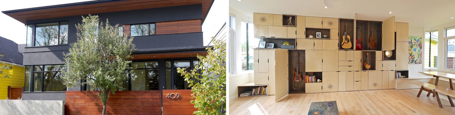 On the left, black and warm wood home exterior. On the right, storage wall holding guitars and art.