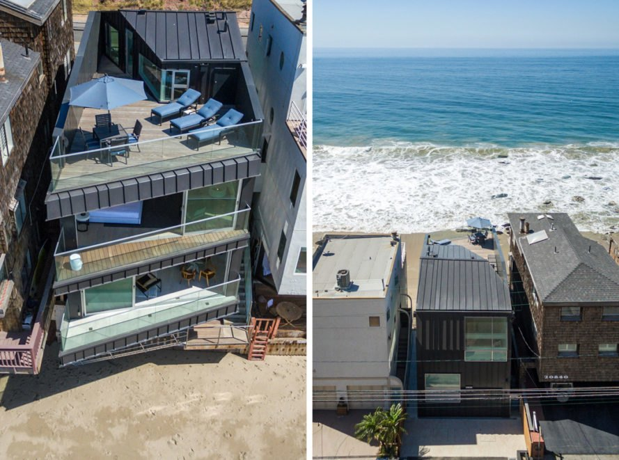 On the left, aerial view of home with multiple balconies and rooftop deck. On the right, aerial view of the back of the home facing the beach.