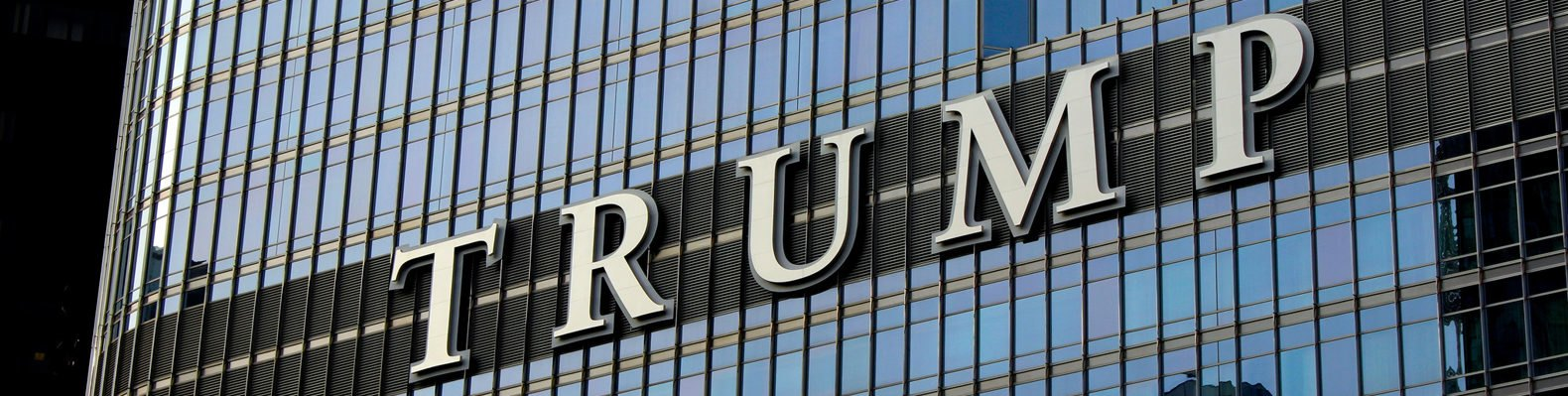 Trump spelled out on the front of the Chicago Trump Tower building