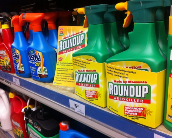 Bottles of roundup on a shelf