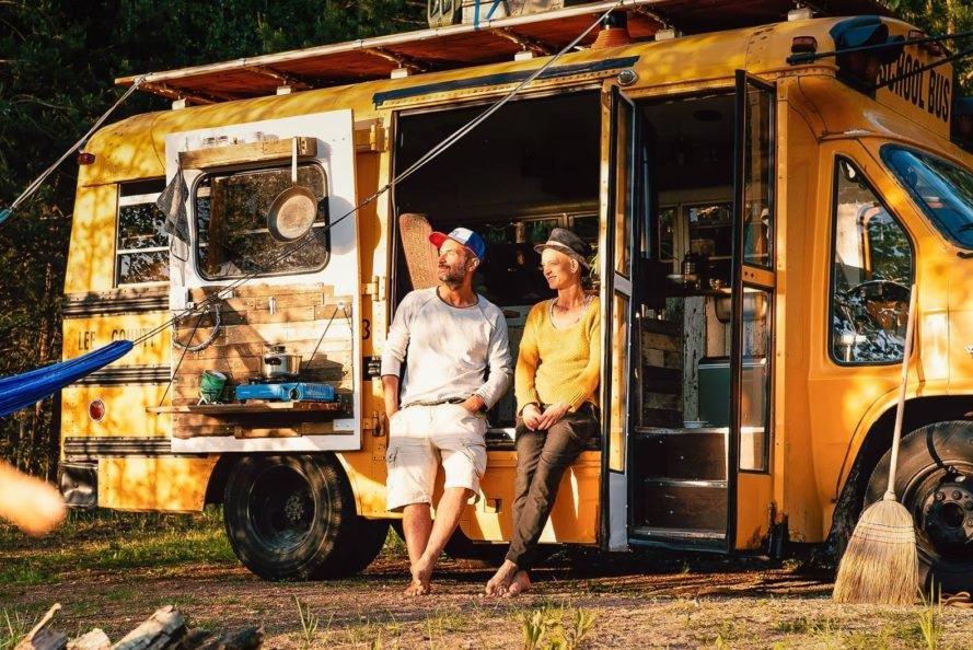 This couple converted an old school bus into a stunning tiny home