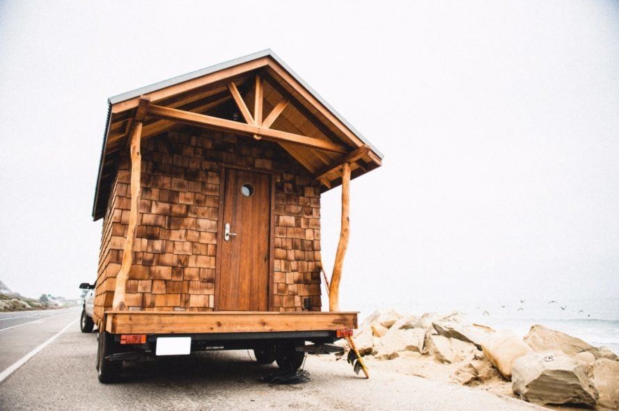 tiny home on wheels with cedar siding