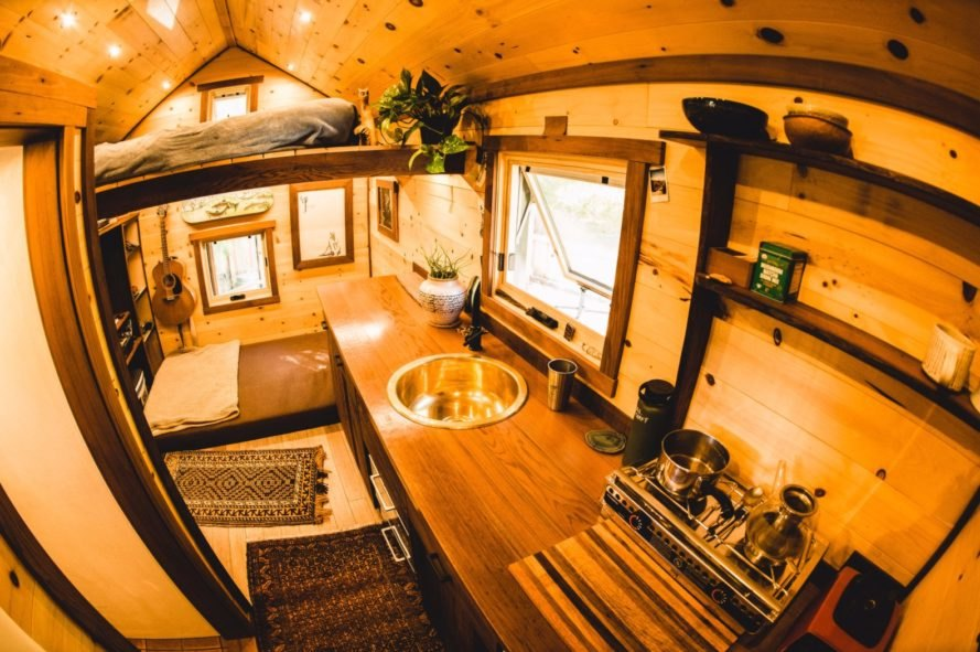 wooden interior of a compact living space