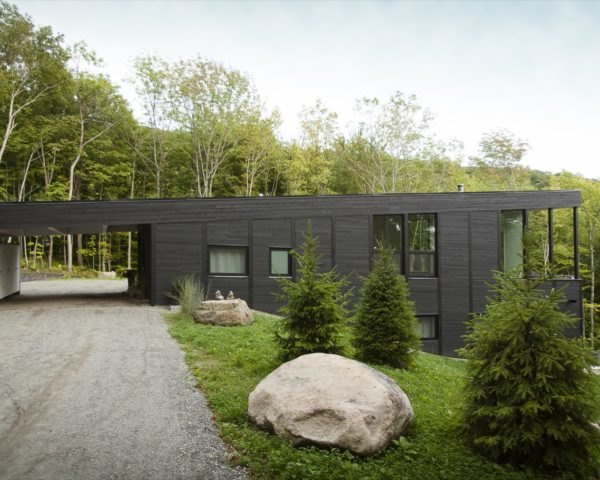 Black timber home built into a grassy slope