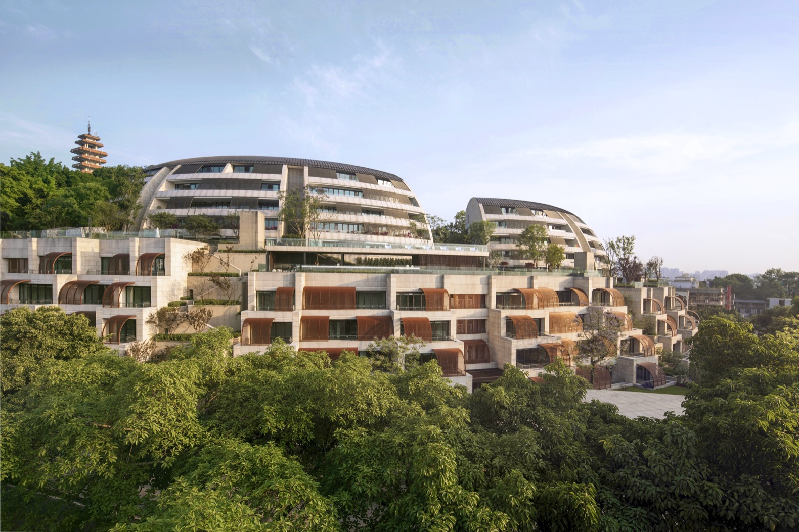 Nature-inspired housing mimics the curvature of the landscape in Chongqing