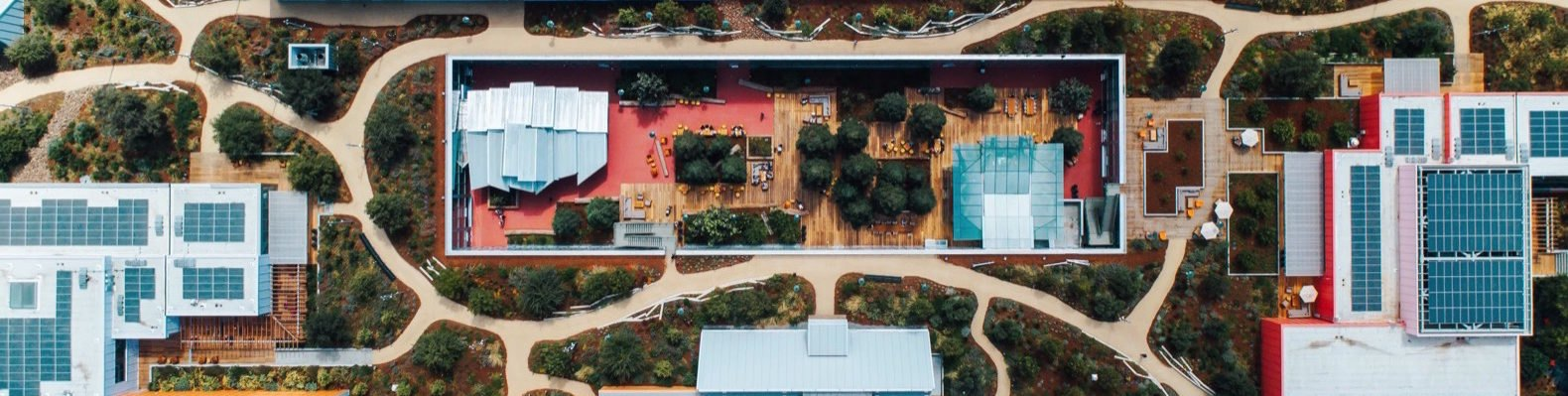aerial view of rooftop park on a building