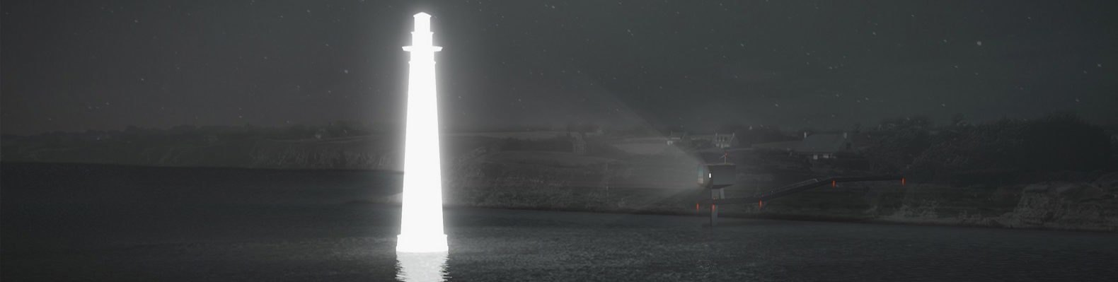cropped close-up of rendering of small cabin emitting tall hologram of a lighthouse at night