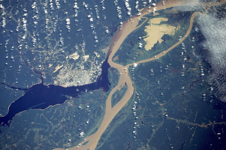 Aerial view of Amazon River near Manaus