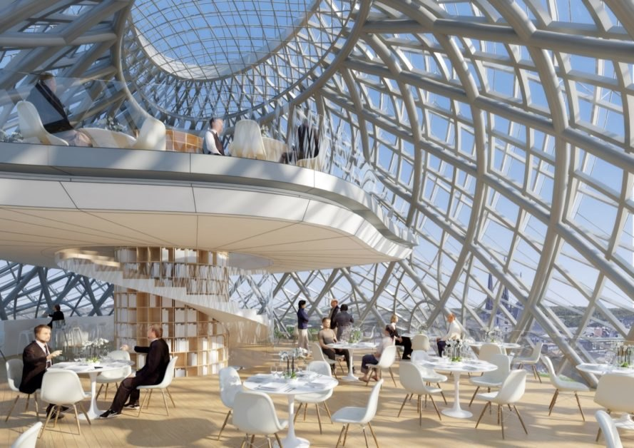 rendering of glass dome with white tables and chairs