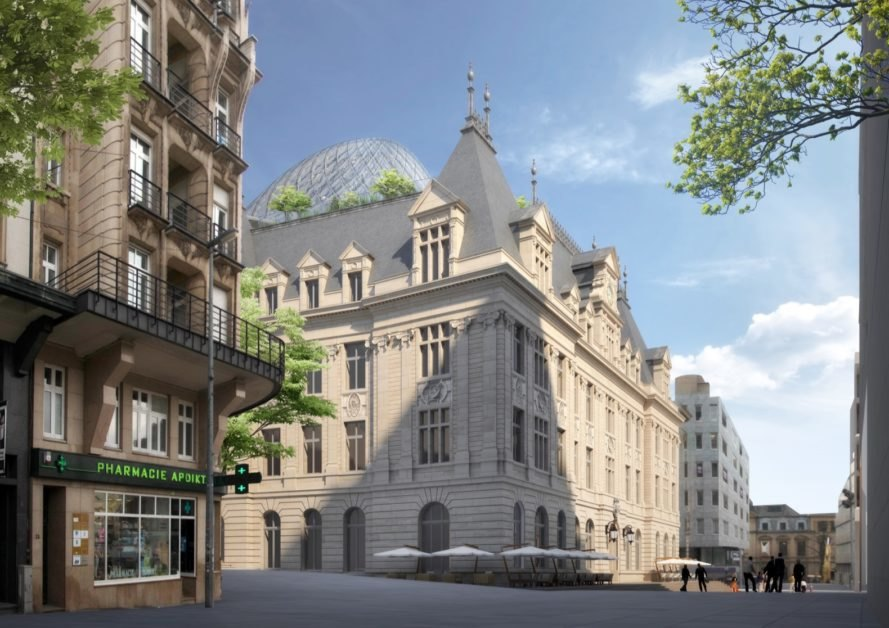 Rendering of street view of historic building with plants and glass dome on roof