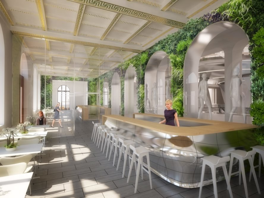 rendering of restaurant with plant-covered walls