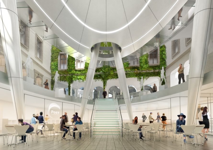 rendering of dome area with plant-covered walls and plenty of seating