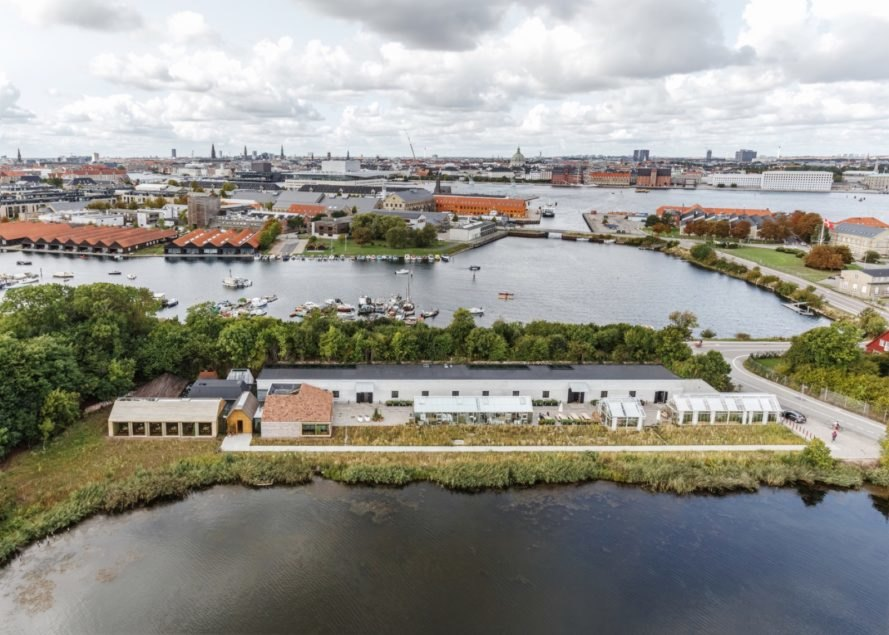 aerial view of restaurant and greenhouses in Copenhagen