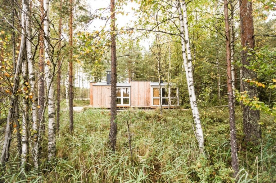 a tiny cabin surrounded by trees