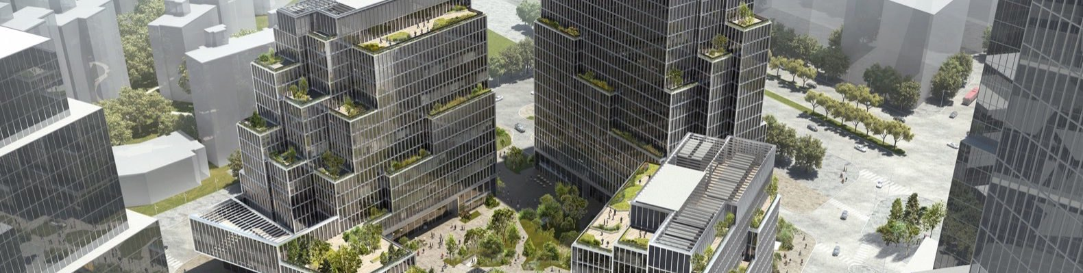 rendering of tall towers with terraces filled with plants