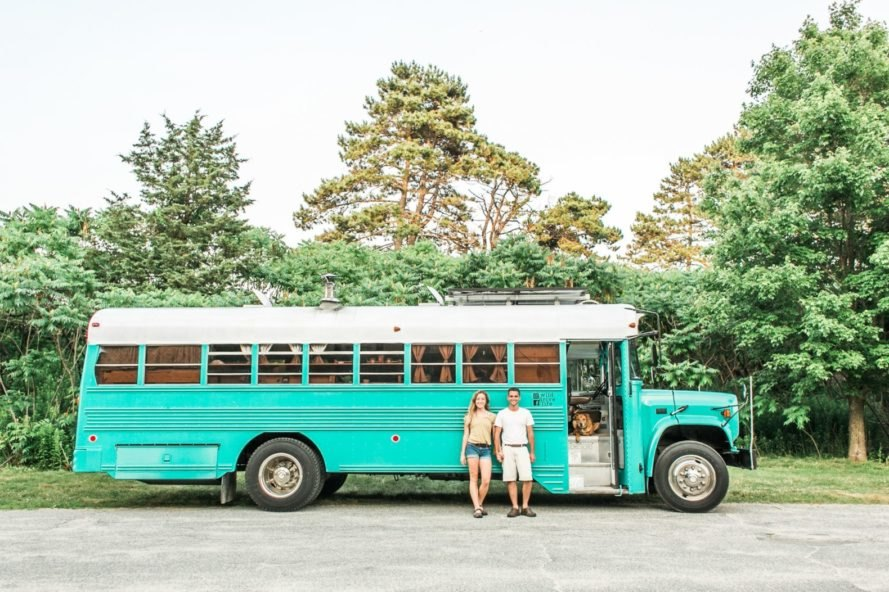 Couple converts old prison bus into tiny home on wheels
