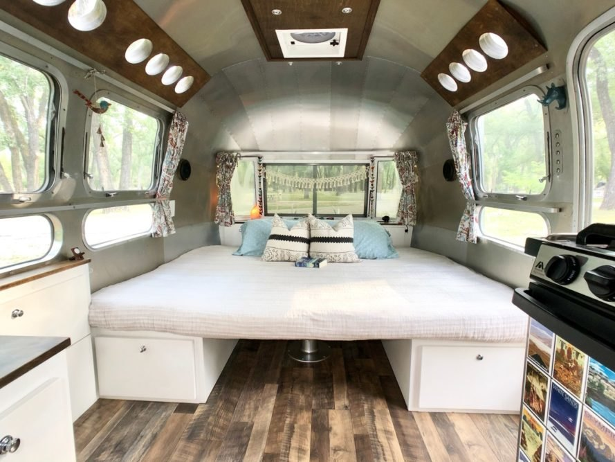 a fold out sleeping space in airstream trailer