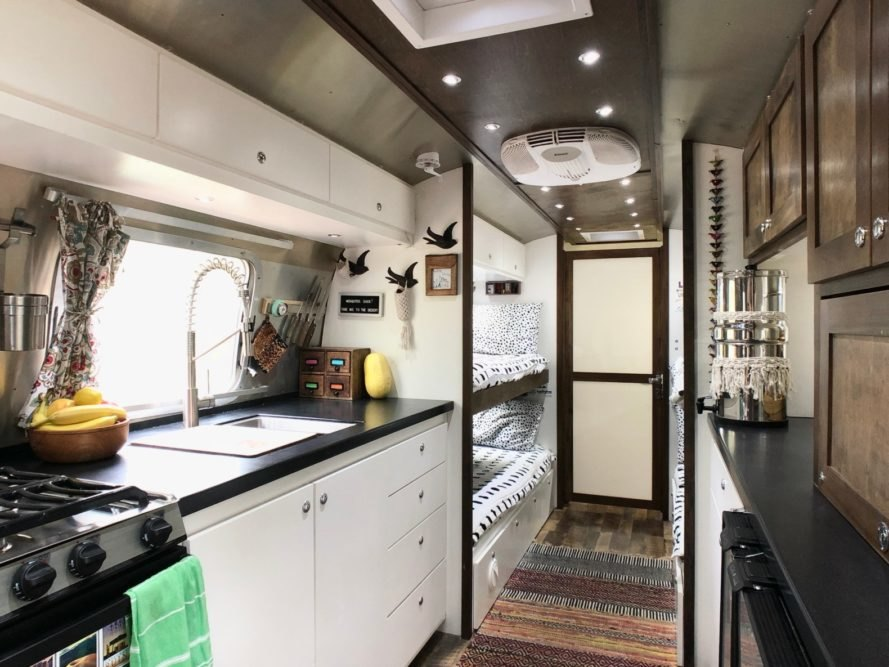 a kitchen space inside an airstream