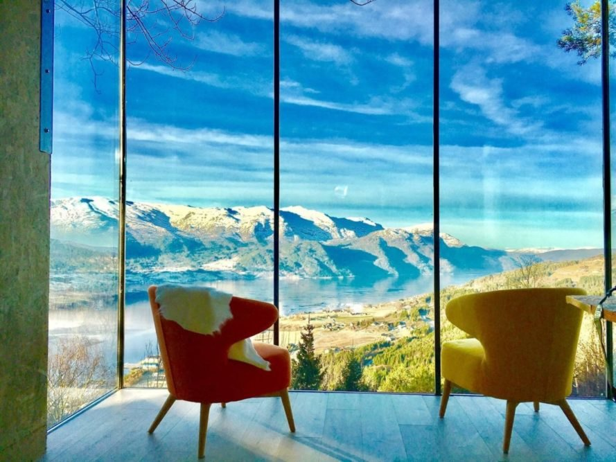 two chairs looking out over a mountain view