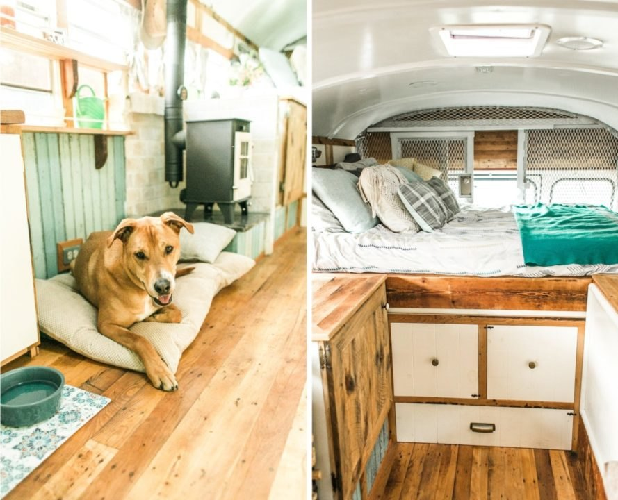 living space inside bus with bed and dog on the floor