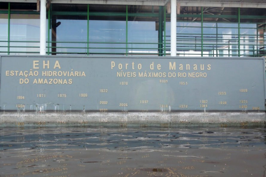 cropped close-up of water marks of flooding in the past 100 years at the Manaus Port