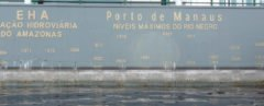 cropped close-up of water marks of flooding in the past 100 years at the Port of Manaus