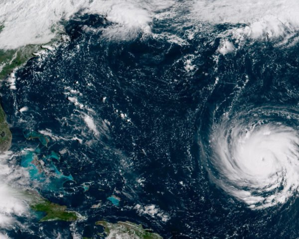 satellite image of hurricane Florence headed for the east coast of the U.S.
