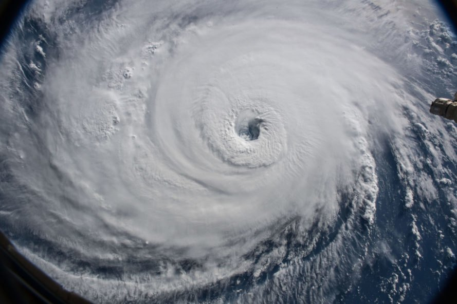 Satellite close-up image of Hurricane Florence