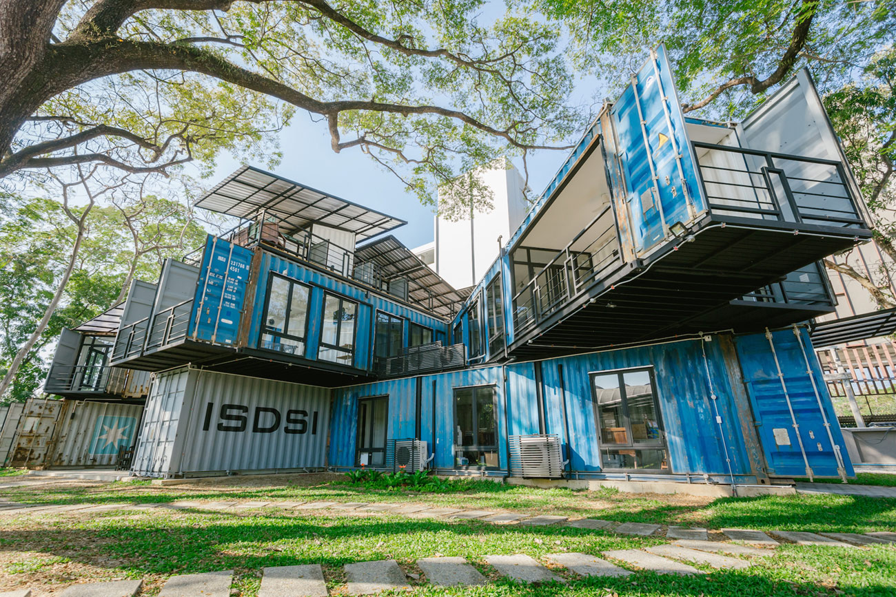 A sustainable campus is built from 22 recycled shipping containers