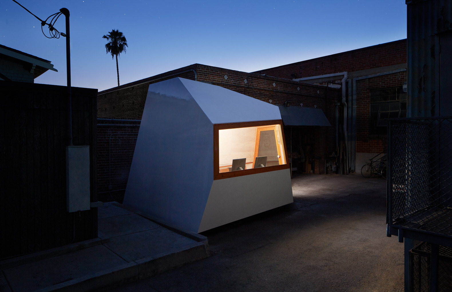 This geometric pod is an ultra-light micro-office on wheels