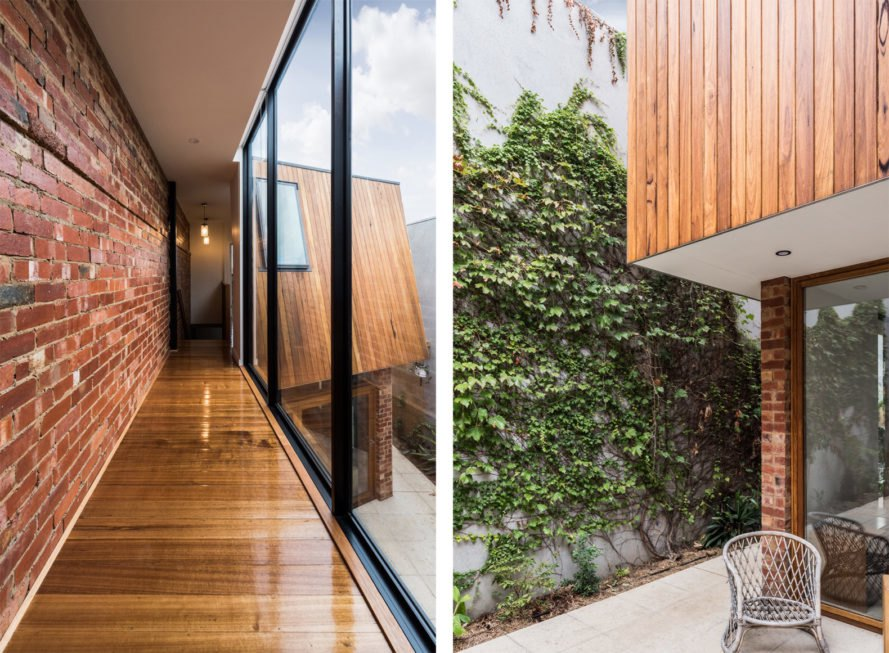On the left, hallway with brick and glass walls and timber floor. On the right, outside of home with brick, timber and living green walls.