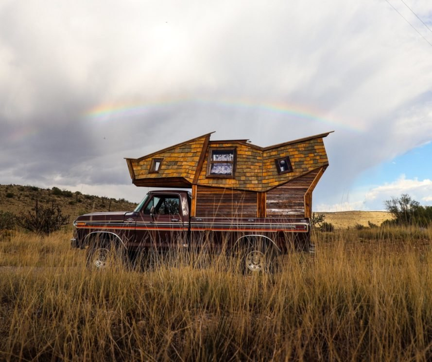 cabin built on to the bed of a pickup truck
