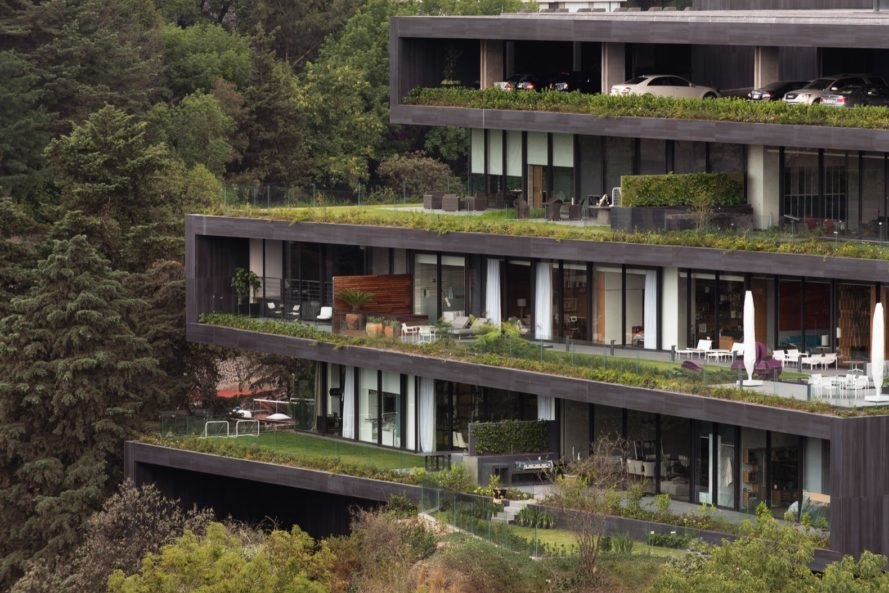 zigzagging landscaped terraces on an apartment building