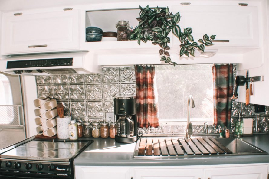 kitchen with pressed tin backsplash