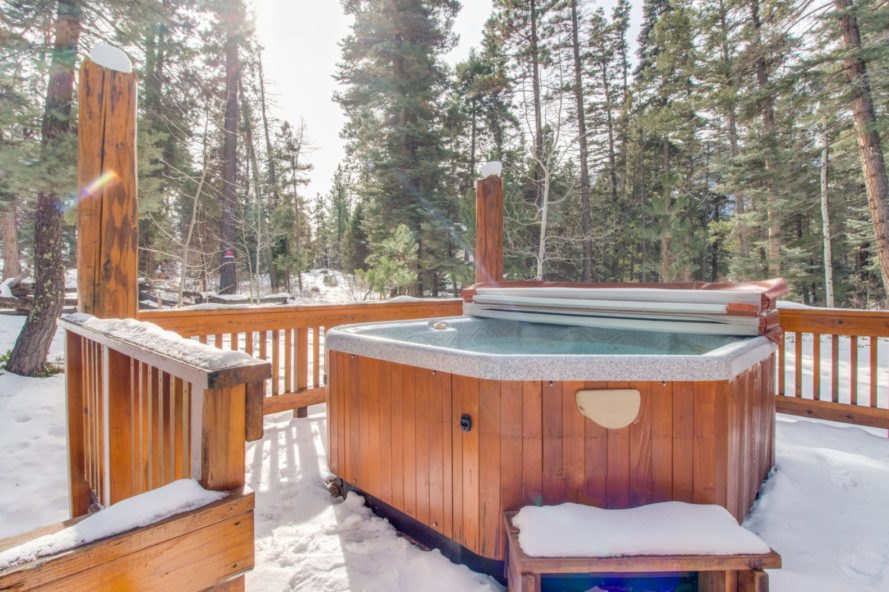 hot tub on wooden deck