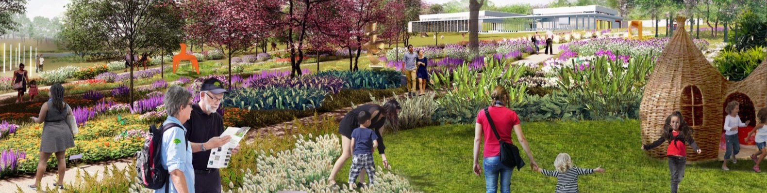 rendering of people walking through park with colorful flowers and plants