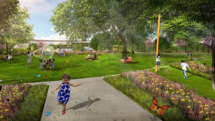 rendering of green space with flowers and butterflies
