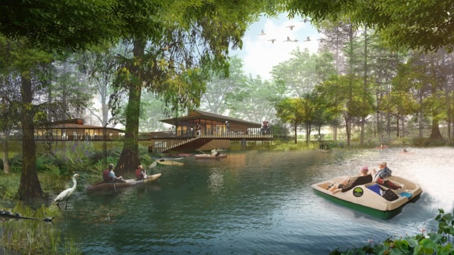 rendering of people boating on water surrounded by trees