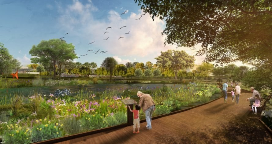 rendering of adults and children looking at water and plants