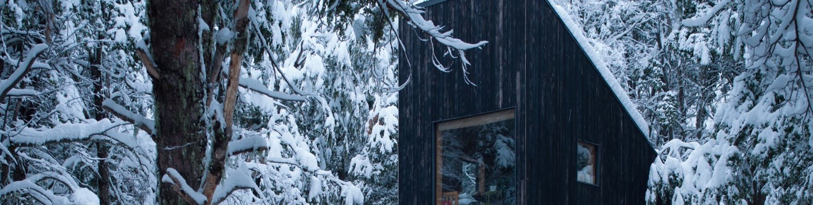 cropped close-up of black timber cabin in a snowy forest